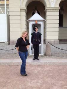 Me posing--at a safe distance--with a Royal Palace Guard